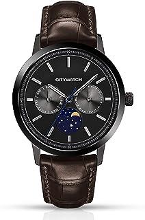 CITYWATCH CY015.03BR - Reloj de pulsera para hombre con correa de piel auténtica marrón