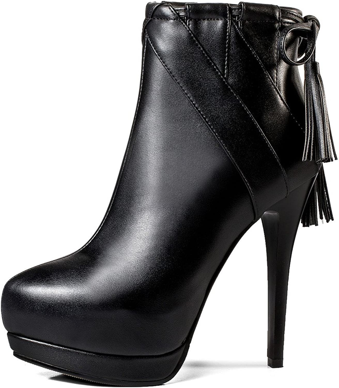 Nine Seven Genuine Leather Women's Pointed Toe Stiletto Heel Zipper Handmade Platform Bowknot Ankle Boots