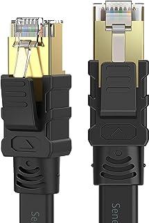 Senetem CAT8フラットLANケーブル 5m 40Gbps/2000MHz カテゴリー8 超高速インターネットケーブル RJ45 ツメ折れ防止 ブラック モデム ルータ PS3 PS4 PS5 Xbox等に対応