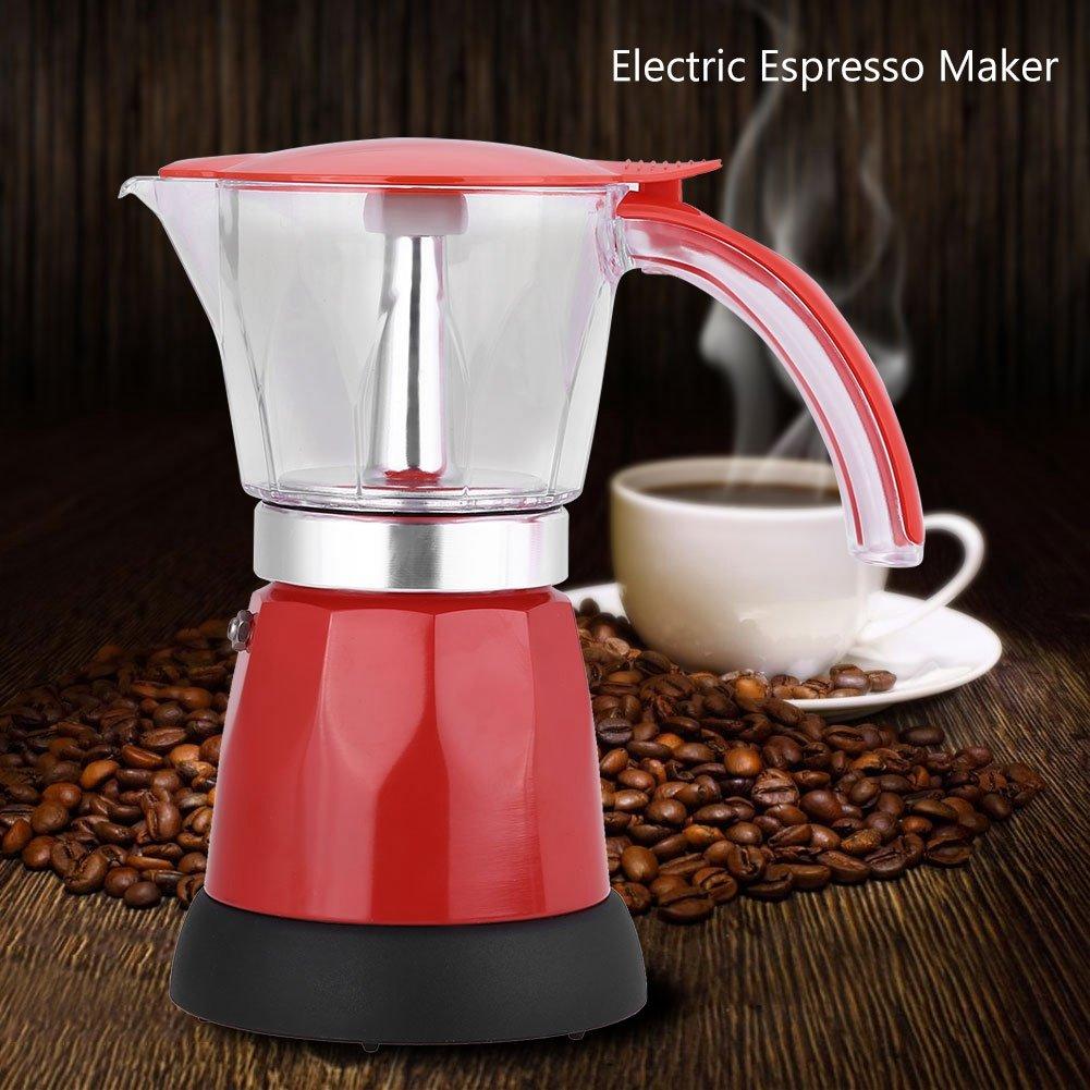 Cafetera eléctrica,300ml / 6 tazas 480W Aleación de aluminio desmontable Cafetera eléctrica Cafetera de alta dureza de alta dureza para el hogar oficina(rojo): Amazon.es: Hogar