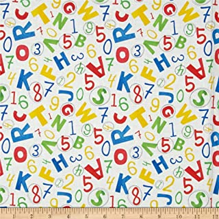 Fabri-Quilt Back to School Letters White Fabric By The Yard