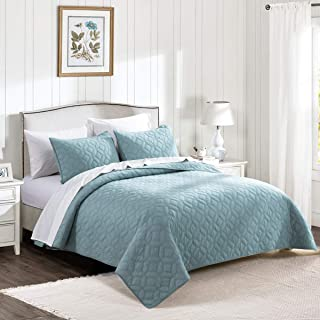 HeyDreamy Cotton Voile Lightweight 3 Piece Quilt Set Ultra Soft Garment Wash Coverlet Set Solid Diamond Stitched Bedspread Geometric Pattern with Cotton Fill for All Season (Turquoise,King)