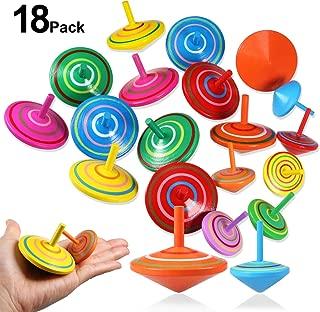 cama24com Kreisel Umkehrkreisel Stehaufkreisel Holzkreisel aus Holz 4 St/ück mit Palandi/® Sticker