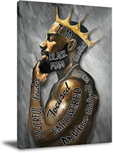 Black Men Wall Art Black Men I Am Enough Art Afro King Poster African American Men Portrait Wall Art Abstract Contemporary Canvas Prints Painting for Living Room Bedroom Decor 16x24 Inch Unframed