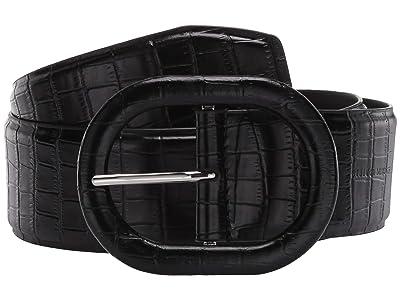 Rebecca Minkoff 50mm Croco Waist Belt (Black) Women