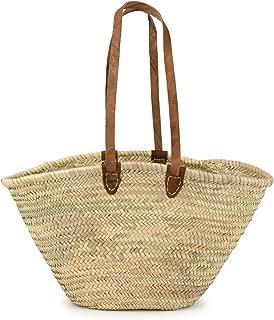 Moroccan Straw Market Shoulder Bag w/Leather Shoulder Straps - 21