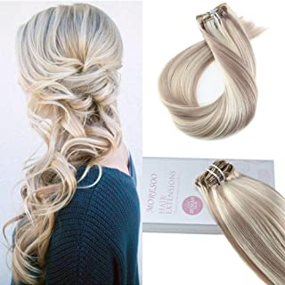 Moresoo Straight 7 Pieces Colorful Clip in 100 Remi Human Hair Ash Blonde Highlights with #613 Hair Extensions Clip in Human Hair Blonde 120g Colored Hair Extensions Human Hair