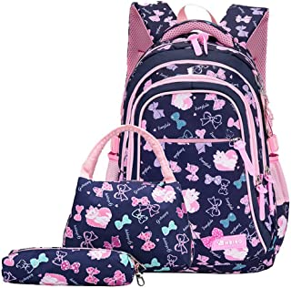 Bansusu 3Pcs Bowknot Cat Prints Elementary Girls School Bookbag Rucksack for Primary Girls School Backpack Set with Lunch Kits