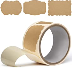 100 2x3 Kraft Paper Label Stickers (Roll of 100 Labels) – Blank Brown Paper Kraft Labels in 3 Designs – Make Custom Stickers & Craft Sticker Labels for Jars, Logo Stickers, Gift Tags & More!