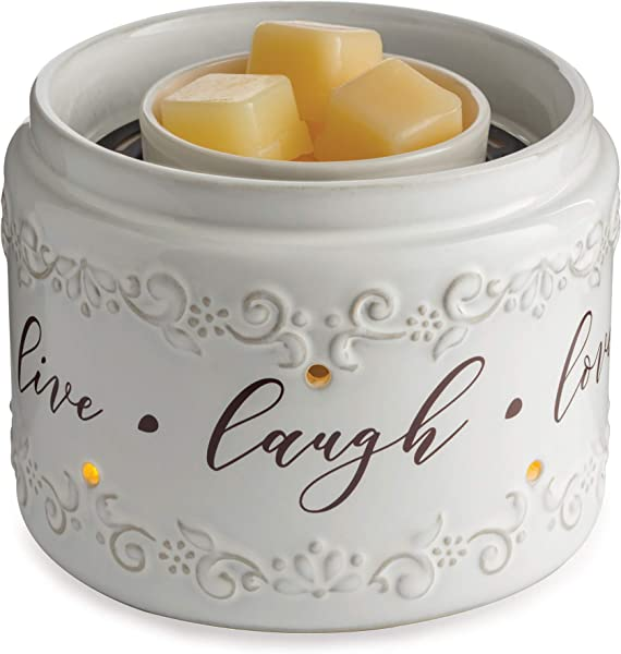 CANDLE WARMERS ETC Illuminaire Live Laugh Love Fan Fragrance Warmer Whisper Quiet Fan Circulates Scent From Scented Candle Wax Melts And Tarts For Full Room Freshener White With Brown