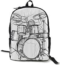 Tinahgmx6q Graffiti Sketch Style Drummer Music Inspired Monochrome Computer Backpacks Book Bag Travel Hiking Camping Daypack
