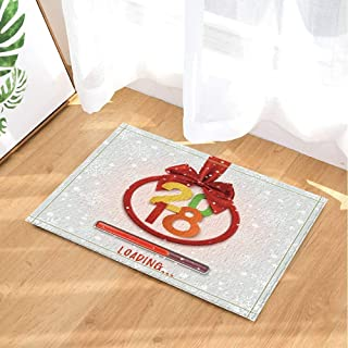Christmas Decoration,Red Ribbon Round Banner 2018 Happy New Year Loading Bathroom Rug,3D Hd Printing Will Not Fade Indoor Non-Slip Door Mat,Children's Bathroom Carpet,15.7X23.6 Inch