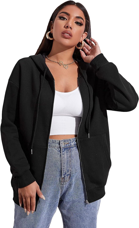 Floerns Women's Causal Full Zip Drawstring Hoodie Long Sleeve Sweatshirts Pockets Jacket Coat