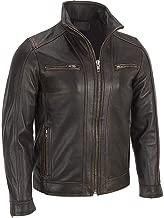 Men's Biker Rivet Faded Cafe Racer Motorcycle Seam Black Real Sheepskin Leather Jacket