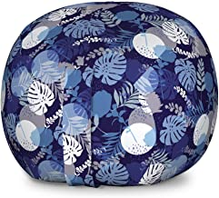 Lunarable Tropical Storage Toy Bag Chair, Monstera Leaves with Circles Foliage Exotic Style Fan Palm Island Theme, Stuffed Animal Organizer Washable Bag for Kids, Large Size, Purple Grey
