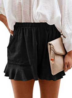 Womens Elastic Waist Side Pockets Ruffle Cotton Linen...