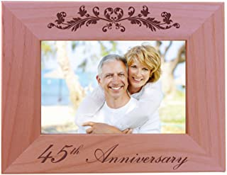CustomGiftsNow 45th Anniversary - 4x6 Inch Wood Picture Frame - Great for friends, parents and family