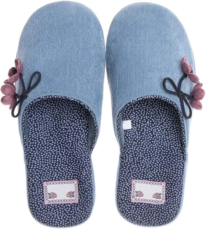 Womens Slippers Keep Warm Winter Fashion Cotton Slippers Casual Flat Women Indoor Corduroy Slipper,Sapphirebluee,40