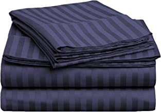 طقم ملاءات سرير من 3 قطع من القطن الممشط فائق الجودة بنسبة 100% بكثافة 400 خيط من Superior ، مخطط، مزدوج XL - أزرق داكن