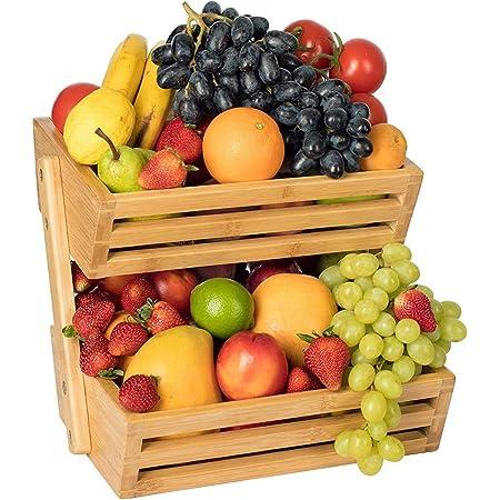 Bossjoy Support pour corbeille à fruits en bambou - rangement pour les légumes, les œufs et le pain - Pour plan de travail de cuisine, rangement décoratif à la maison.