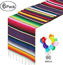 HOMYHEE Mexican Serape Table Runners 6 Pack for Mexican Fiesta Party Cinco De Mayo Decorations with 60 Multicolor Balloons, 14 x 84 inches