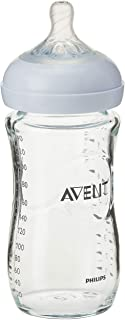 Philips Avent SCF673/13 Natural Glass Baby Bottle, 8oz/240ml, Extra soft slow flow nipple, 1 Count
