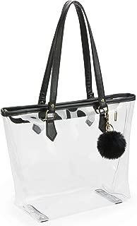 Large Clear Bag PVC Transparent Shoulder Handbag with Black Plush Pendant (Black 2)