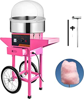 VBENLEM Cotton Candy Machine Commercial with Bubble Cover Shield and Cart Cotton Candy Machine Candy Floss Maker Pink 1030W Electric Cotton Candy Maker Stainless Steel for Various Parties