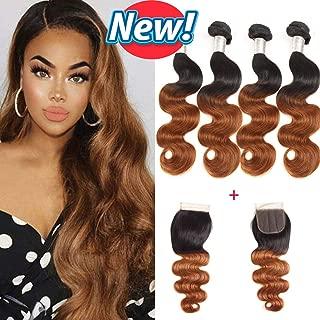 BCQueen Hair 4 bundles Brazilian Ombre Body Wave Bundles with Closure (18