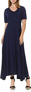 Double Layered Front V Neck Short Sleeve Maxi Dress with Solid Rayon Spandex