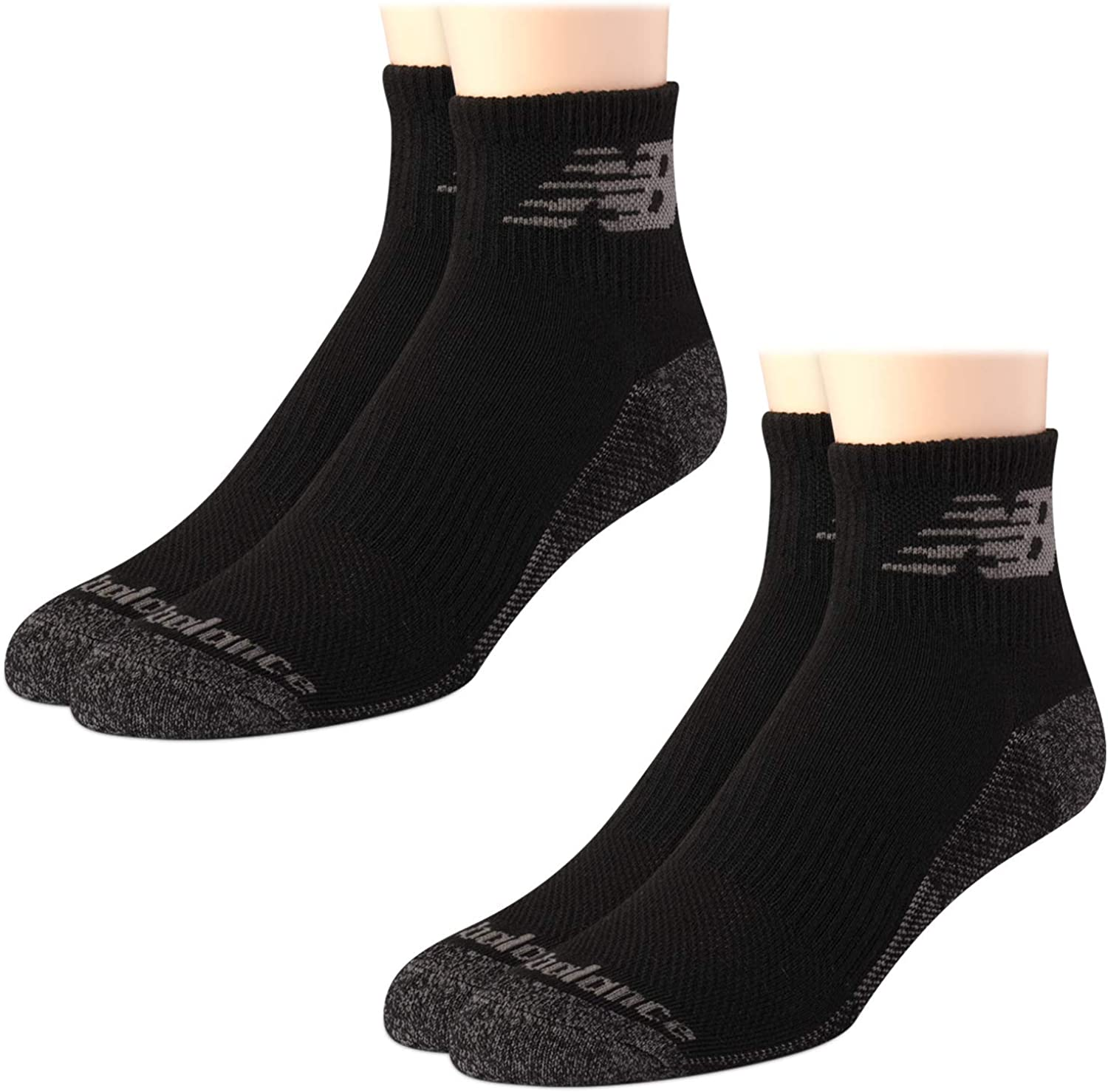 New Balance Men's Athletic Cushion Comfort Quarter Cut Socks with Cooling Technology (2 Pack)