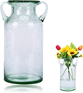 QUECAOCF Elegant Flower Glass Vase with Handle, Handmade Double Ear Air Bubbles Glass Vase for Centerpiece Home and Wedding Indoor and Outdoor Decorative