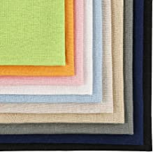 Caydo 10 Pieces 10 Colors Linen Needlework Fabric for Embroidery Project, 9.8 inch by 9.8 Inch