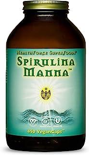 HealthForce SuperFoods Spirulina Manna - 450 VeganCaps - Certified Organic Spirulina, Superfood - Plant-Based Protein, Rich Source of Vitamin A - Non-GMO, Gluten Free - 90 Servings