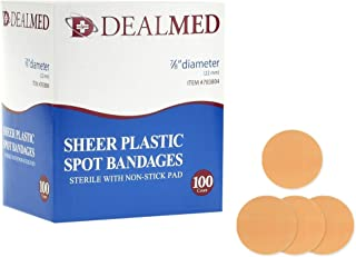 Dealmed Sheer Plastic Spot Bandages,  Sterile with Non-Stick Pad,  7/8 Diameter,  100 Count (1 Pack)