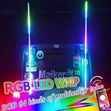 OMUOFFROAD 5FT Lighted Whip LED Antenna Dream Wrapped Dancing Whips for Polaris RZR ATV Antenna Whip UTV Quad Sand Dune Buggy Flag Poles for Trucks w/APP Control (Two Whip)