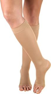 Truform Women's Compression Stockings, 15-20 mmHg, Knee High Length, Open Toe, Opaque, Beige, Large