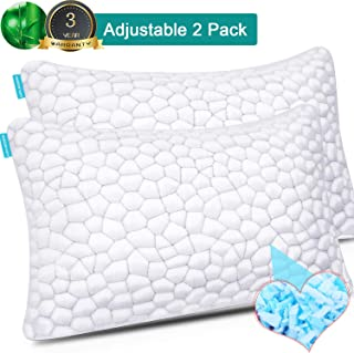 Bamboo Pillow Cool Bed Pillows for Sleeping 2 Pack Adjustable Gel Shredded Memory Foam Pillow with Bamboo Pillow Cover Hypoallergenic - Premium Adjustable Loft - Queen Sleeping Pillow 2 Pack
