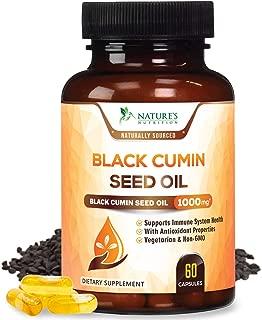 Black Seed Oil Capsules, Max Potency Cold-Pressed 1000mg - Premium Nigella Sativa Black Cumin, Amazing Antioxidant Highest Thymoquinone, Non-GMO Supplement Pills by Natures Nutrition - 60 Capsules