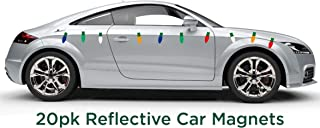 JUST BRIGHT Reflective Automotive Magnets- 20pk Light Bulb Shaped Festive Car Magnet Christmas Decorations- Decorate Your Car, Office, Home, or Any Metal Surface for Christmas - Assorted Colors