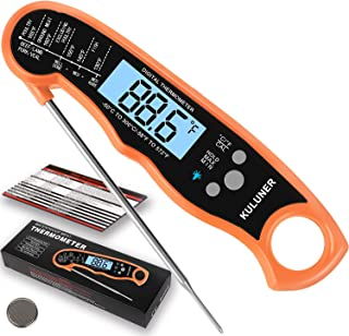 "KULUNER Waterproof Digital Instant Read Meat Thermometer with 4.6"" Folding Probe Backlight & Calibration Function for Cooking Food Candy, BBQ Grill, Liquids,Beef(Orange)"