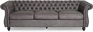 Vita Chesterfield Tufted Microfiber Sofa with Scroll Arms, Slate