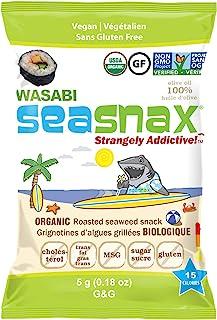 SeaSnax Organic Roasted Seaweed Snack Wasabi, 0.18 oz (Pack of 6)