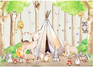 Funnytree 7x5FT Woodland Baby Shower Photography Backdrop for Birthday Party Table Decoration Animals Wild One Forest Tribal Background Photo Booth
