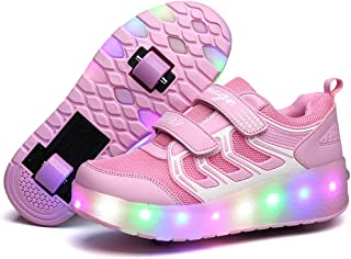 Licy Life Unisex Kids LED Trainer Roller Skates Shoes with Double Wheels Retractable Lightweight USB Rechargeable Outdoor Sports Cross Trainers Gymnastic Running Sneakers for Boys Girls