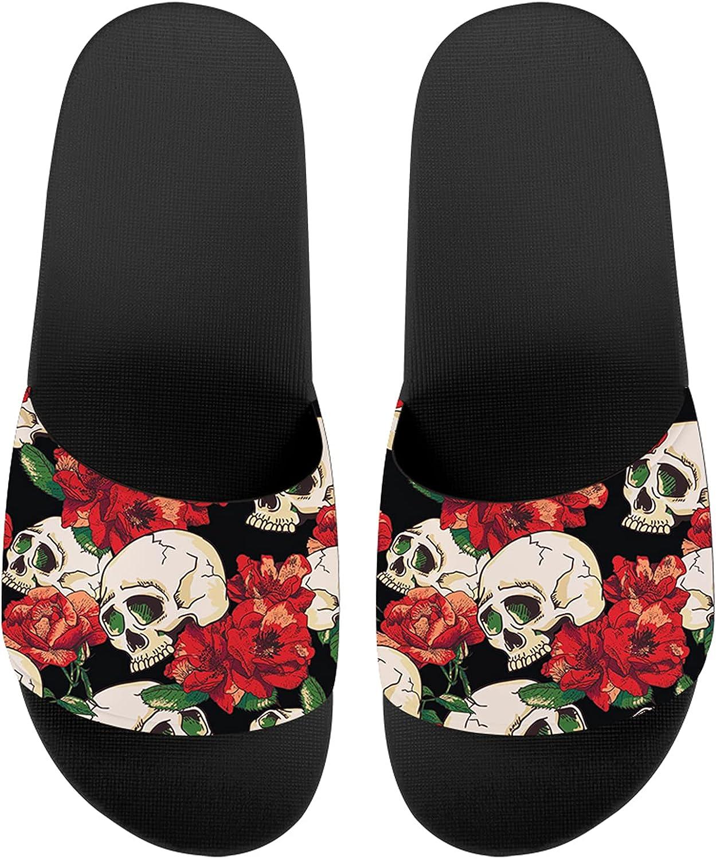 Howilath Blue Butterfly Print Summer Slide Slippers for Men Wome