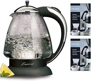 Capresso 259.03 H2O Plus Glass Water Kettle, Polished Chrome includes Espresso Machine Descaling Powder Bundle (2 Items)