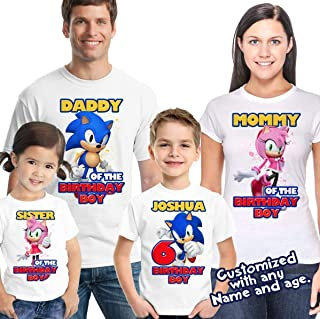 Sonic Birthday Shirt Customized Name and Age Personalized Birthday Shirts Sonic Family Shirts