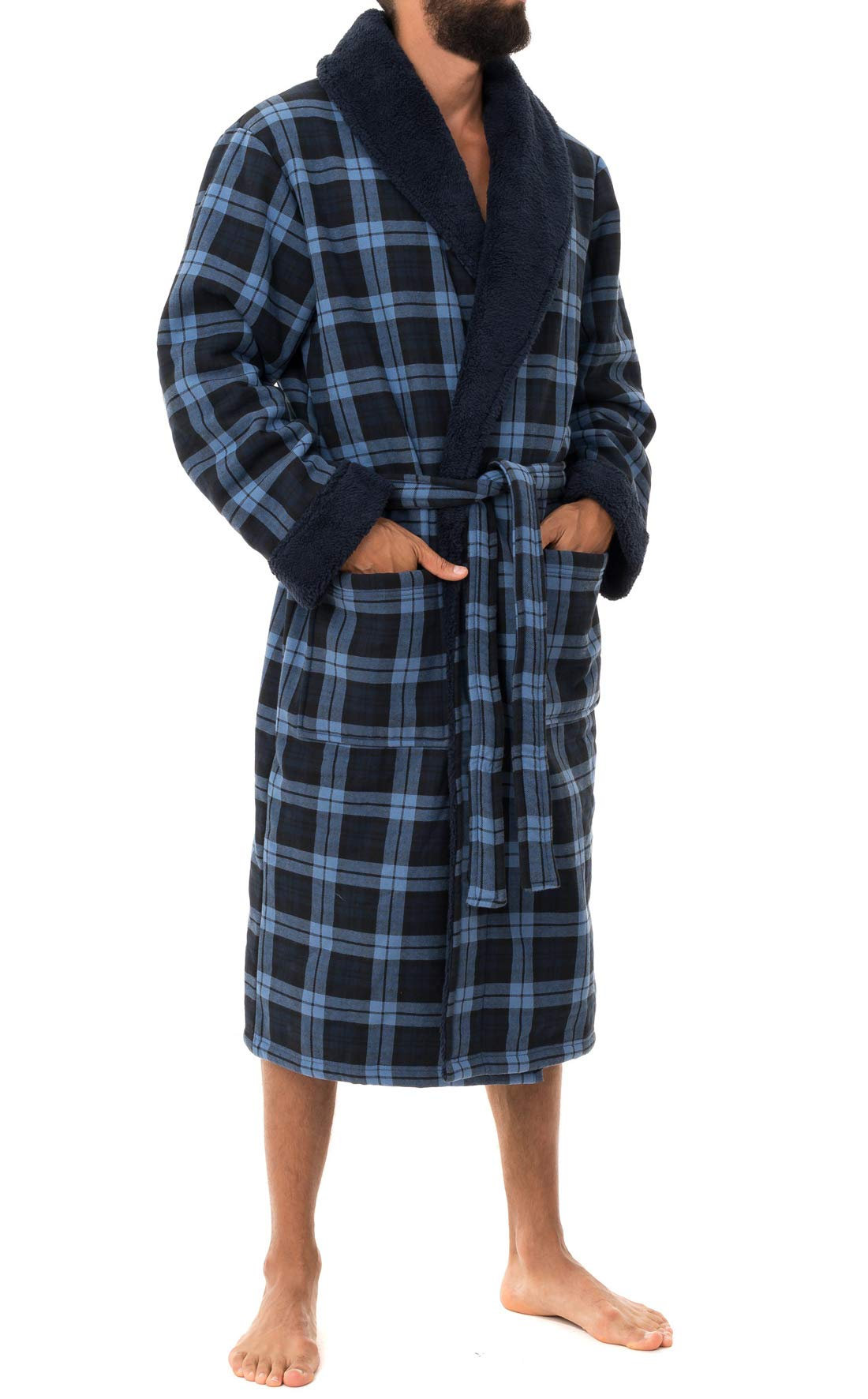 Image of Comfortable and Stylish Blue Plaid Fleece Robe for Men