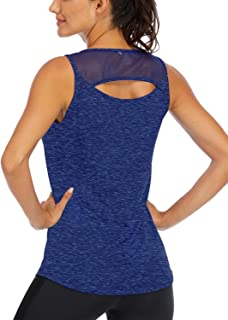 Fihapyli Women's Open Back Yoga Tops Mesh Breathable Workout Tops for Womens Sports Tank Tops